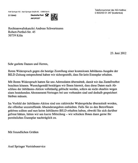 Rechtsanwalt Andreas Schwartmann Ein roter Umschlag ohne BILD Mahnbescheid Abmahnung