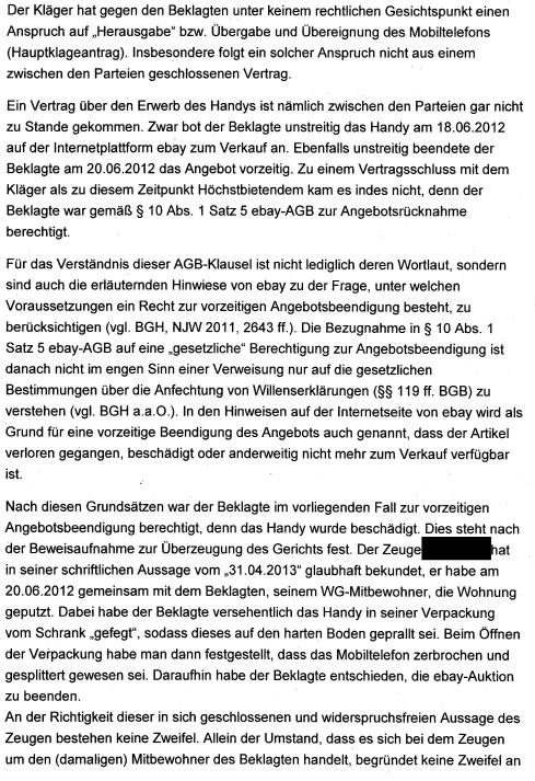 Rechtsanwalt Andreas Schwartmann AG Krefeld: Vorzeitige Beendigung eines eBay-Angebots bei Beschädigung des Artikels Schadensersatz Kaufvertrag eBay Anwaltsleben