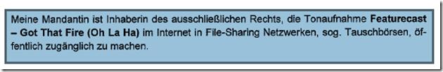 """Rechtsanwalt Andreas Schwartmann RA Daniel Sebastian mahnt ab: """"Featurecast - Got That Fire"""" Urheberrechtsverletzung Schadensersatz Anwaltsleben Abmahnung"""