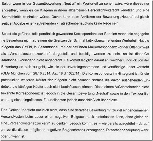 Rechtsanwalt Andreas Schwartmann AG Amberg: Neutrale Ebay-Bewertung kein Werturteil Persönlichkeitsrechtsverletzung eBay Anwaltsleben