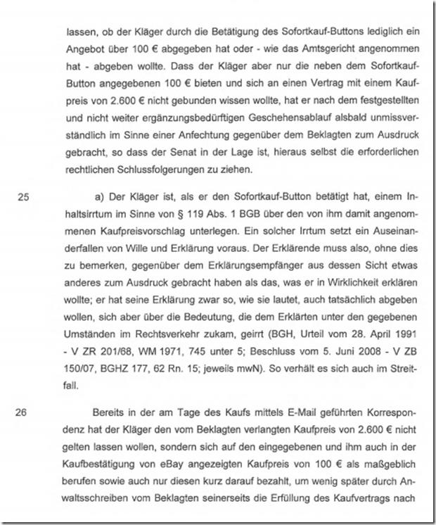 Rechtsanwalt Andreas Schwartmann BGH: Sofort-Kauf-Preis bei eBay ist auszulegen! Kaufvertrag eBay Anwaltsleben